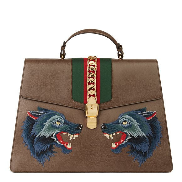Gucci Brown Pigskin Leather Sylvie Top Handle Duffle Bag