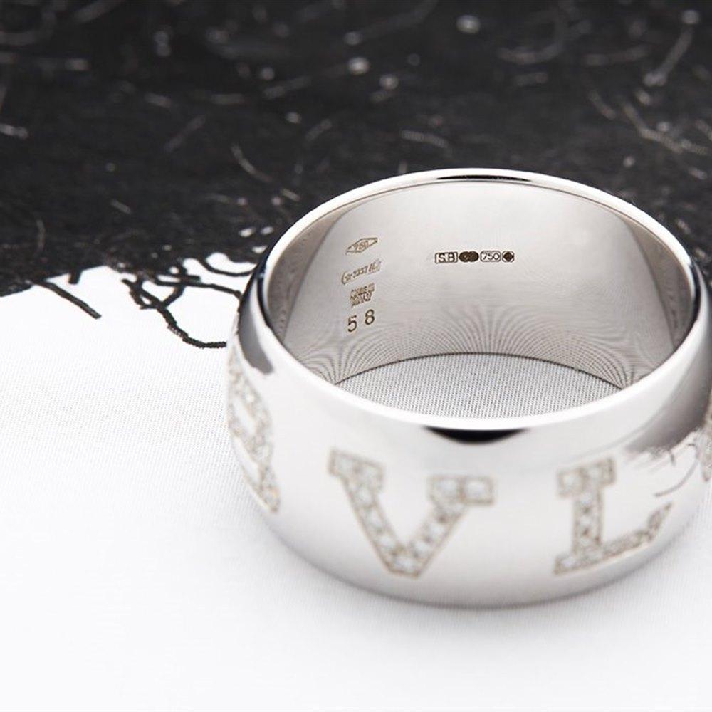Bvlgari (or Bulgari)18K White Gold Monologo Diamond Ring Size 56