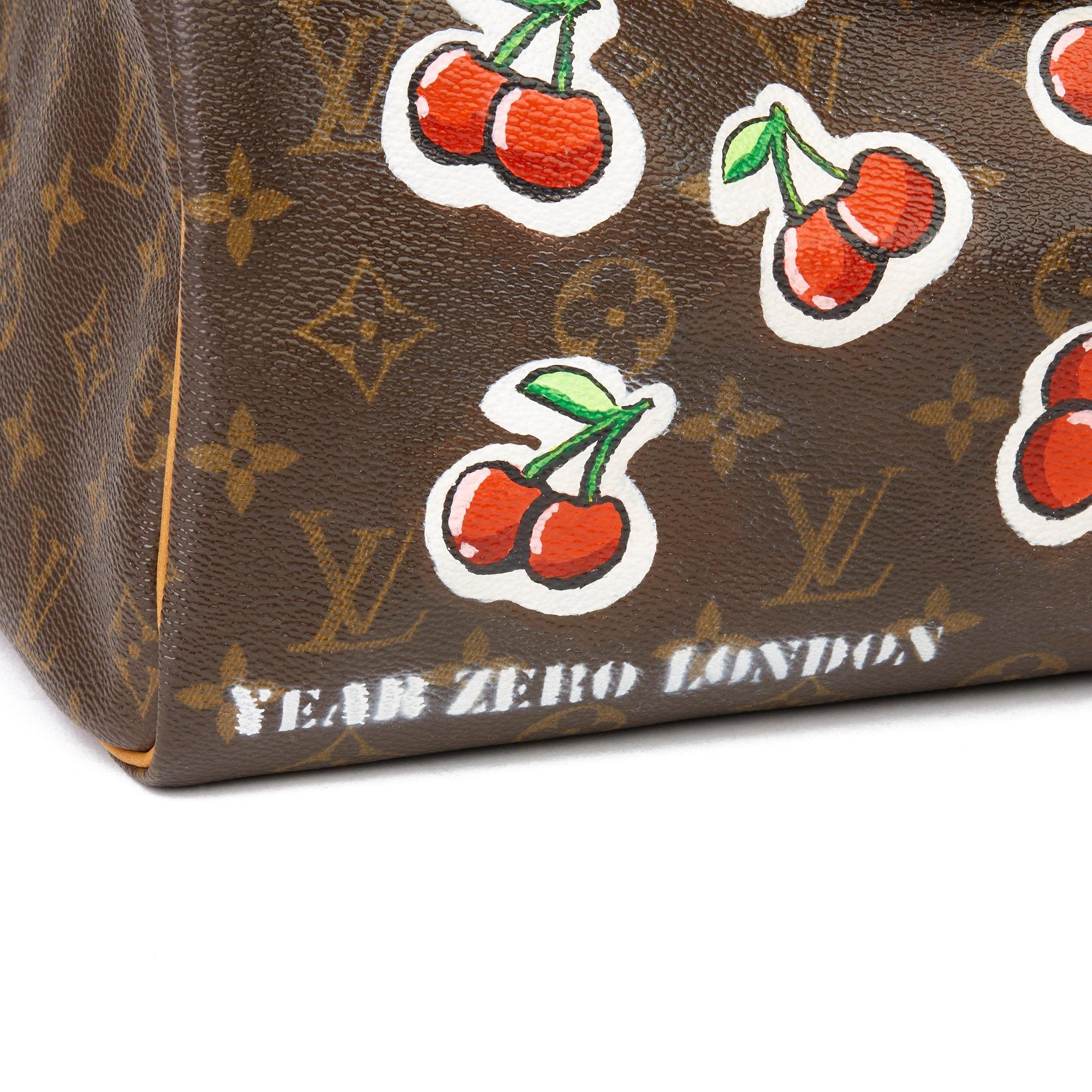 Louis Vuitton X Year Zero London Hand-painted 'Cherries' Brown Monogram Coated Canvas Speedy 30