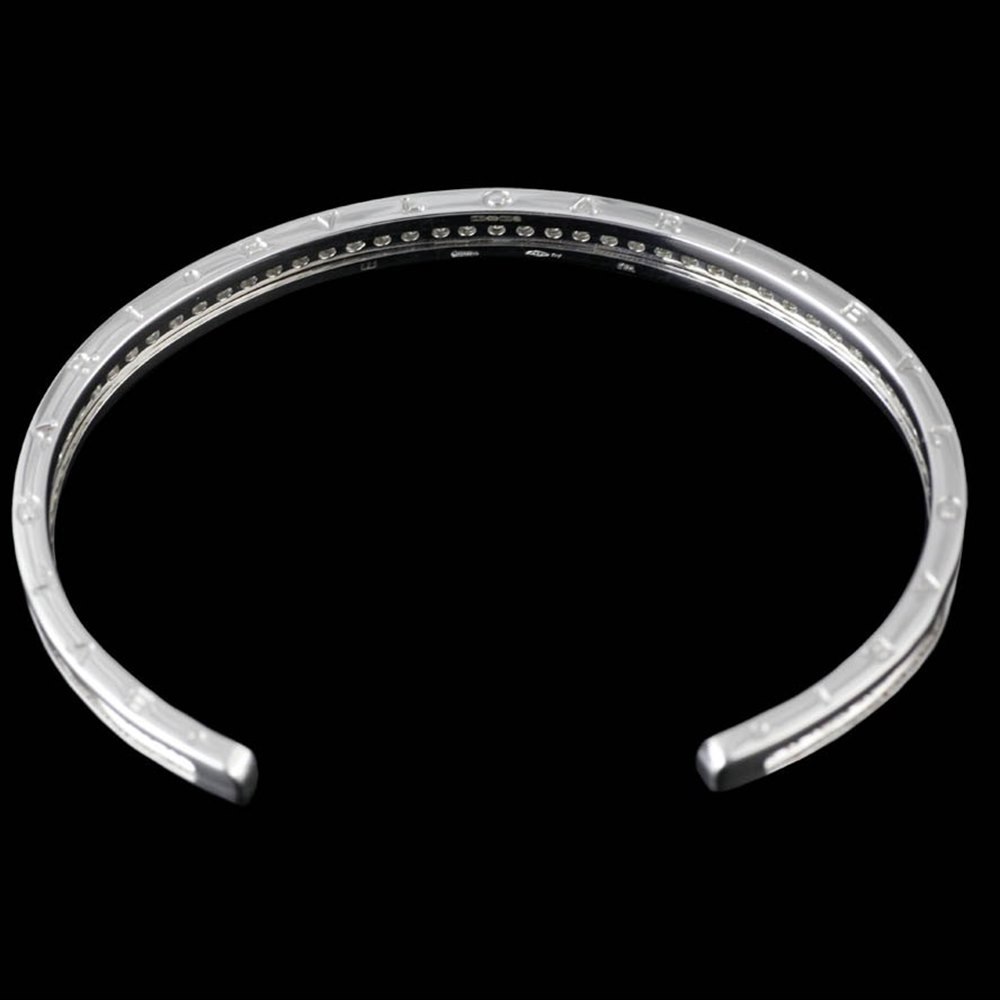 Bvlgari (or Bulgari)B Zero 1 18k White Gold Diamond Cuff Bangle Size M