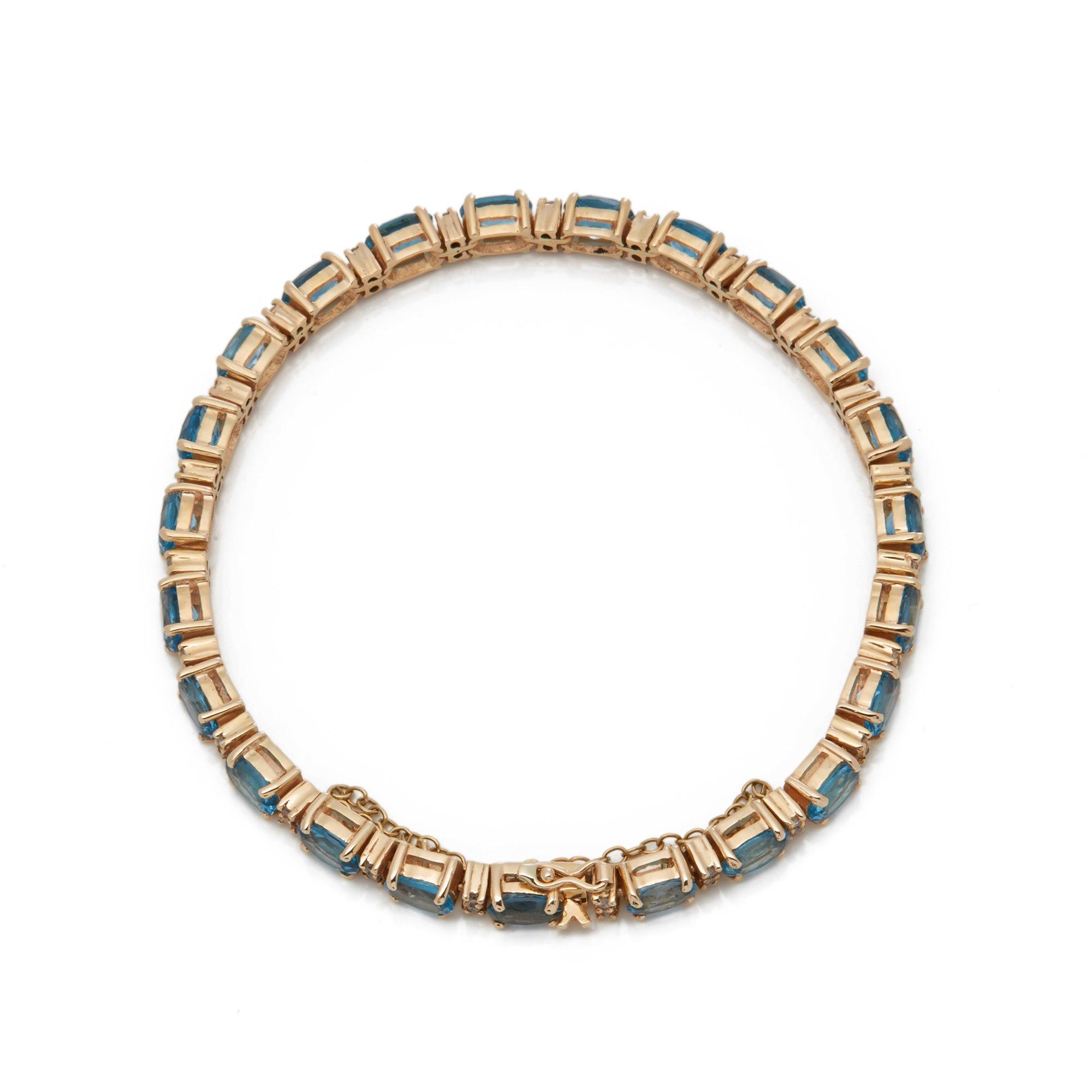 Aquamarine 9k Yellow Gold Aquamarine & Diamond Bracelet