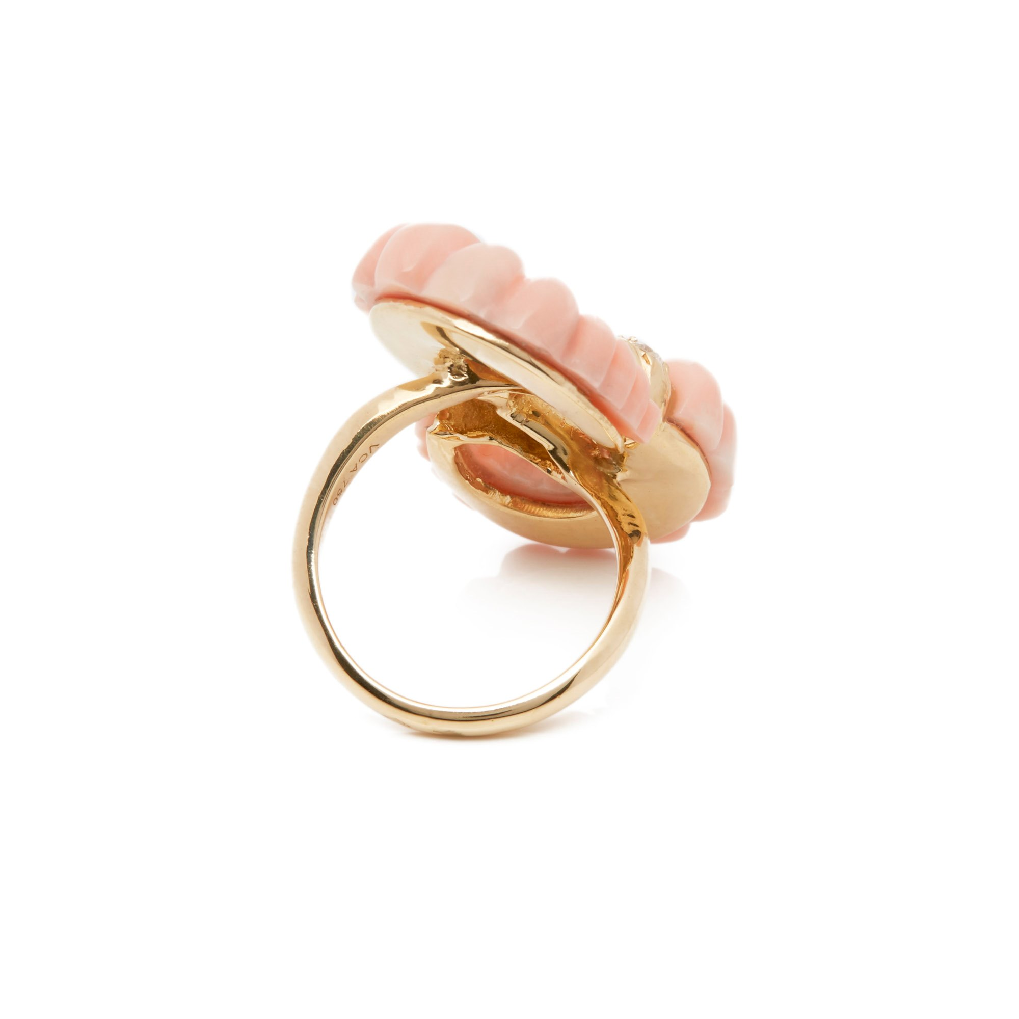 Van Cleef & Arpels 18k Yellow Gold Coral & Diamond Vintage Ring