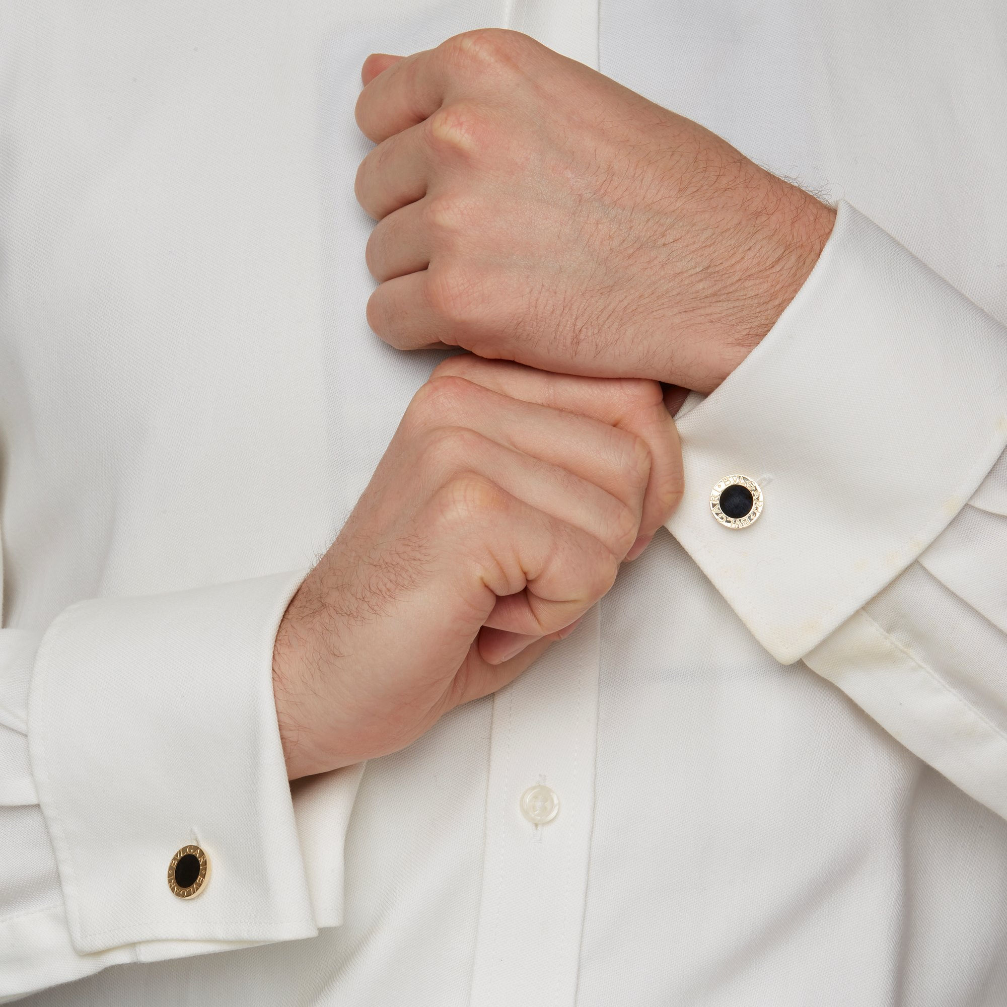 Bulgari 18k Yellow Gold Onyx Cufflinks