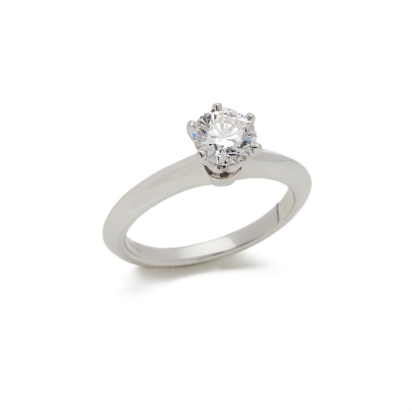 Tiffany & Co. Platinum 0.81ct Diamond Solitaire Engagement Ring