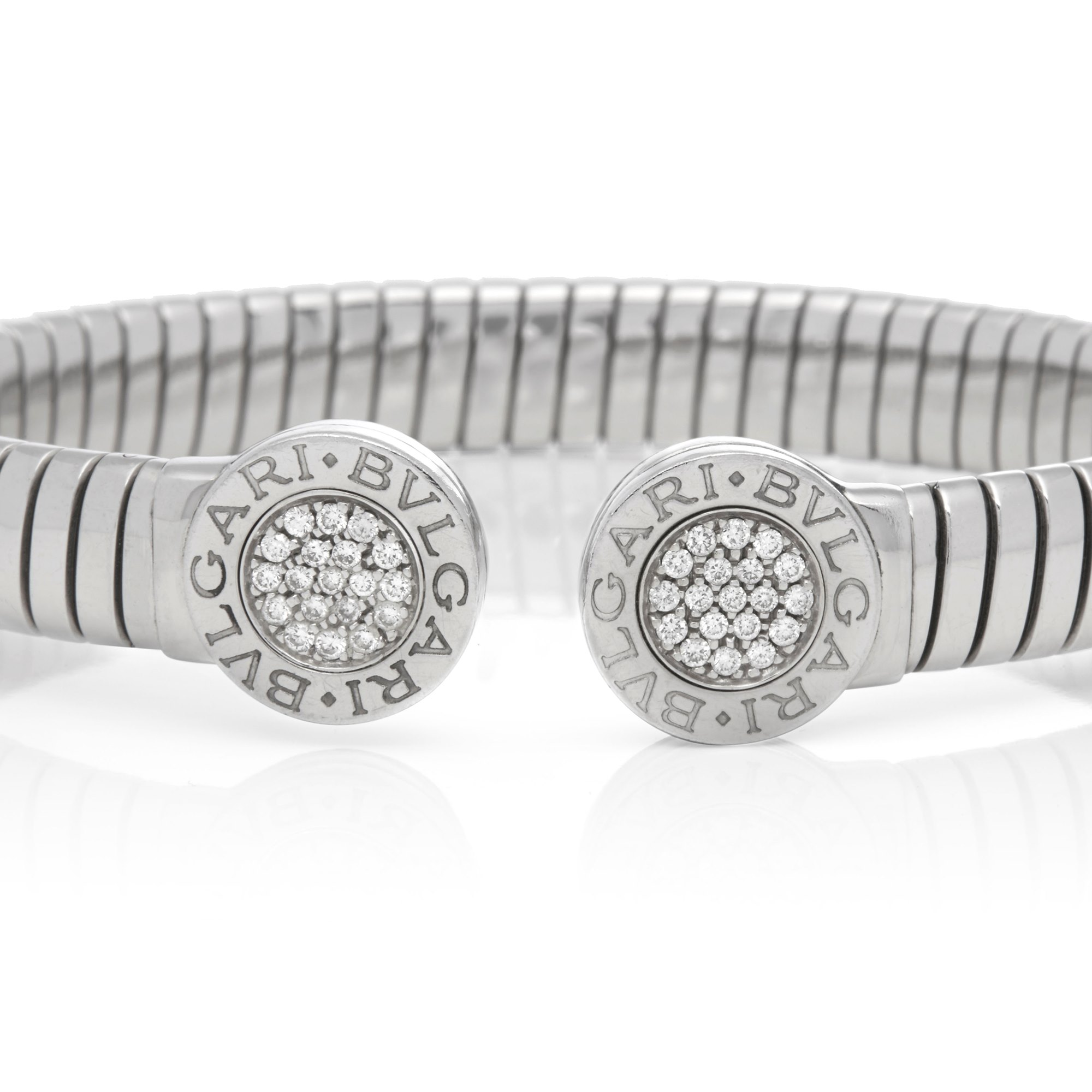 Bulgari Stainless Steel Diamond Tubogas Bracelet