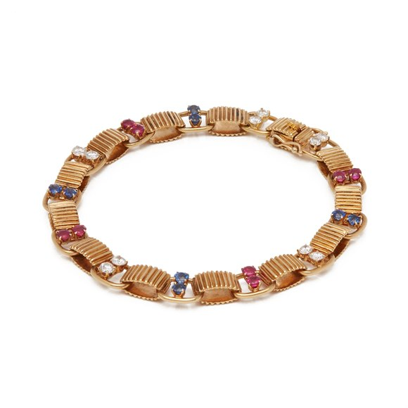 Boucheron 18k Yellow Gold Diamond, Sapphire & Ruby Bracelet