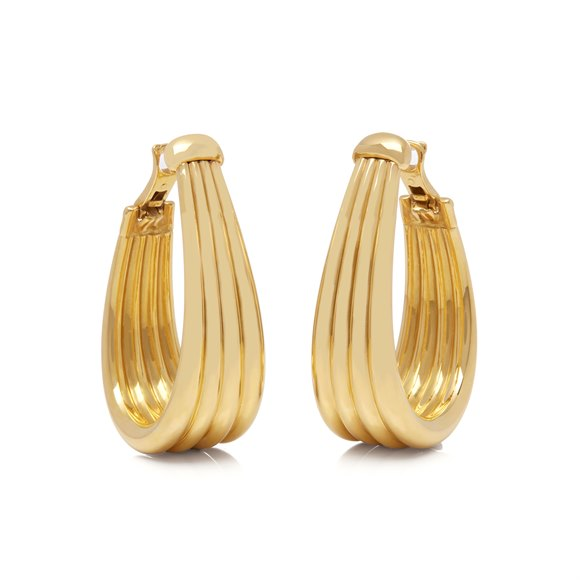 Boucheron 18k Yellow Gold Large Hoop Earrings