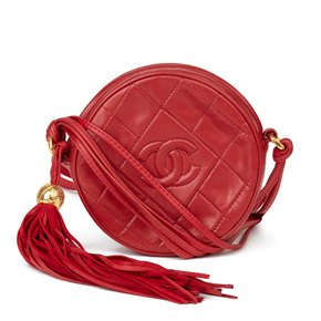 Chanel Red Quilted Lambskin Vintage Timeless Round Fringe Pochette