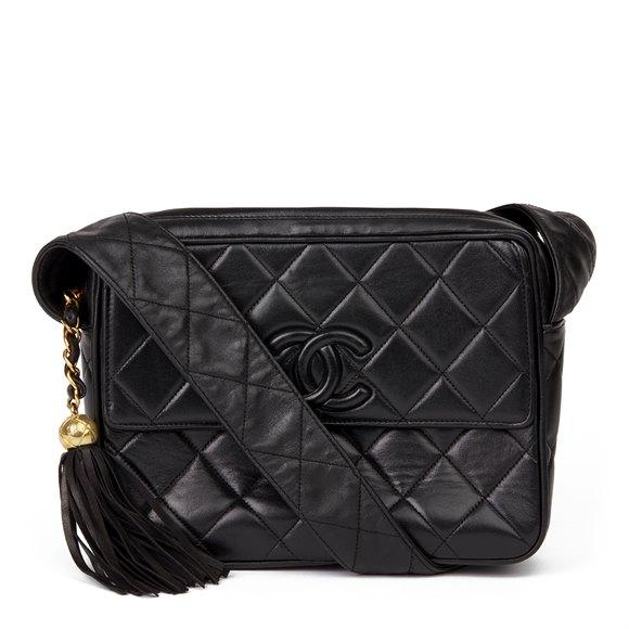 Chanel Black Quilted Lambskin Vintage Leather Logo Fringe Shoulder Bag