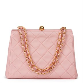 Chanel Pink Quilted Lambskin Vintage Timeless Frame Bag