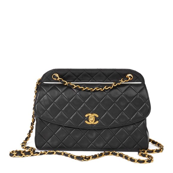 Chanel Black Quilted Lambskin Vintage Classic Single Flap Bag with Wallet
