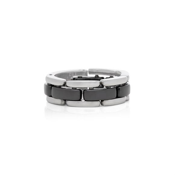 Chanel 18k White Gold Black Ceramic Flexible Ultra Ring