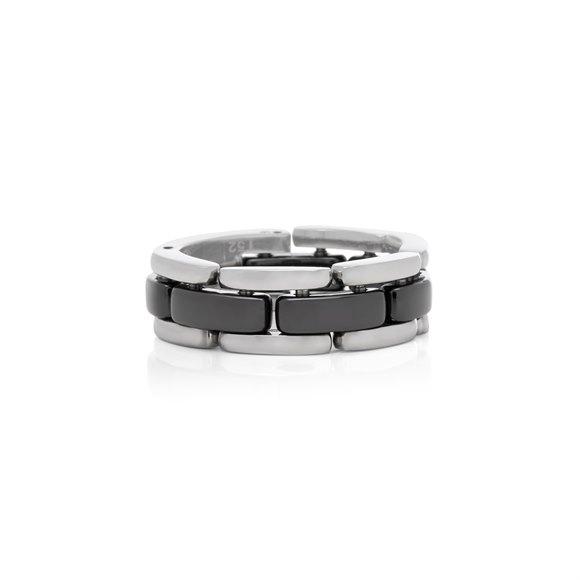 Chanel 18k White Gold Black Ceramic Flexible Ultra Ring
