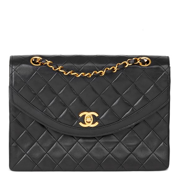 Chanel Black Quilted Lambskin Vintage Classic Single Flap Bag