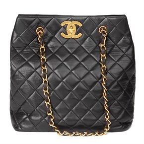 Chanel Black Quilted Lambskin Vintage Classic Shoulder Bag