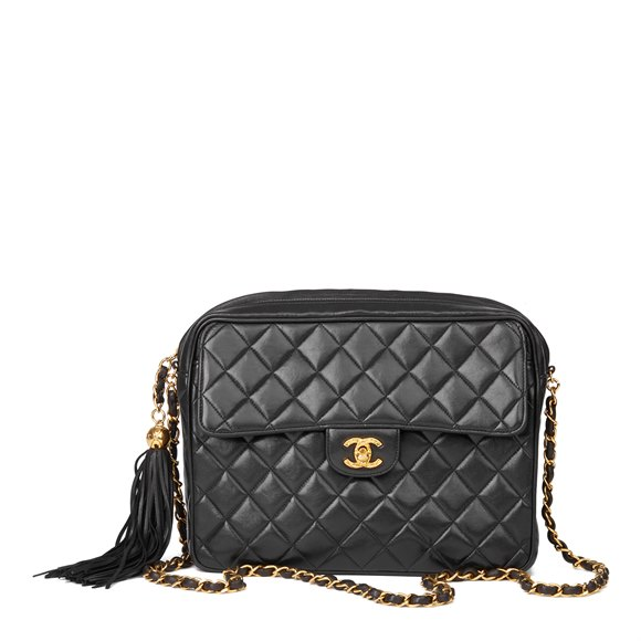 Chanel Black Quilted Lambskin Vintage Timeless Fringe Camera Bag