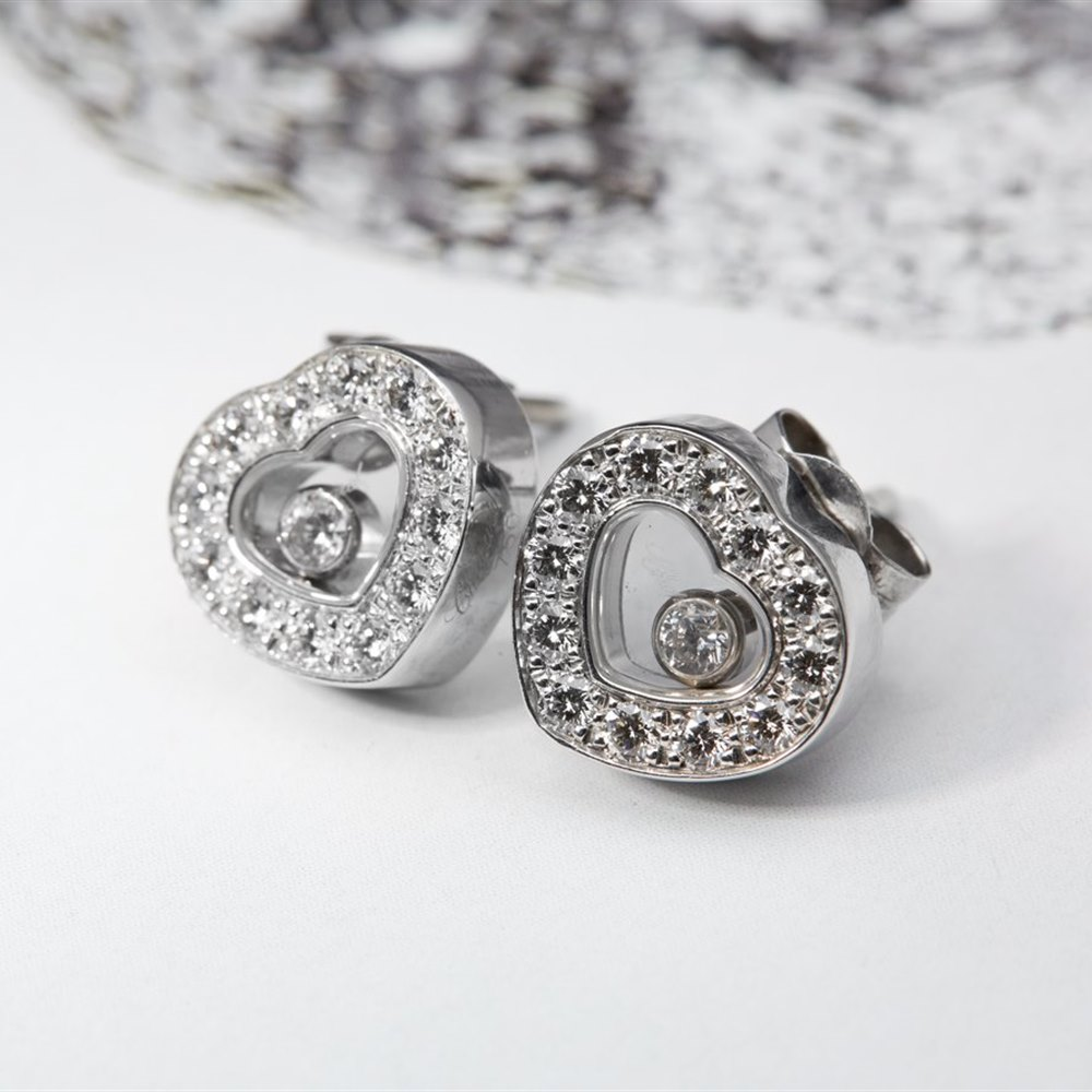 Chopard 18k White Gold 0.40ct Happy Diamonds Stud Earrings
