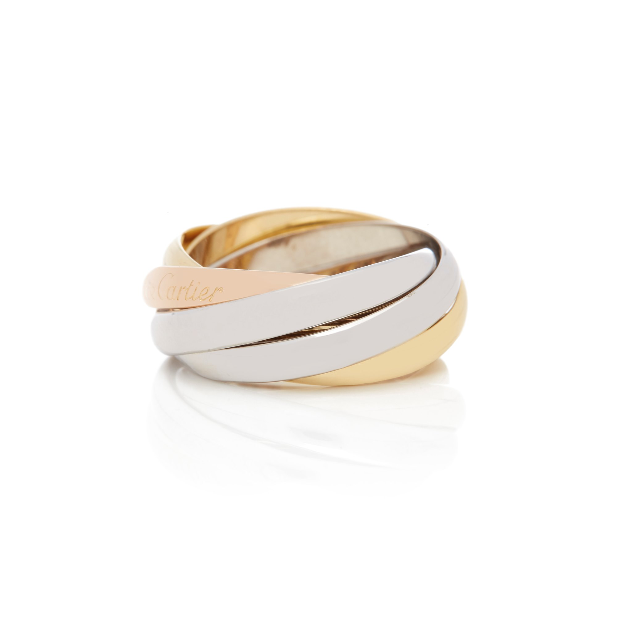 Cartier 18k Yellow, White & Rose Gold Five Band Trinity Ring