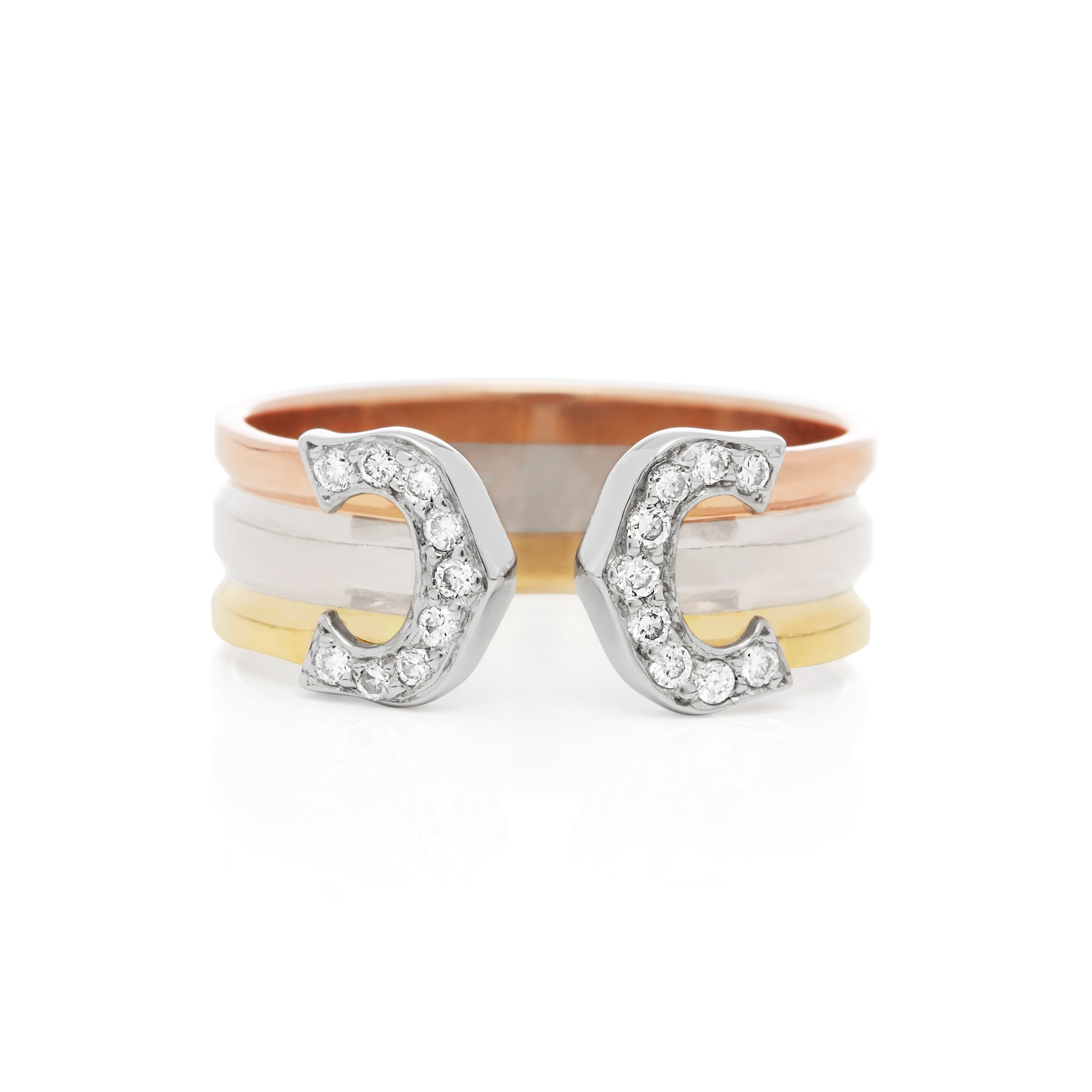 Cartier 18k Yellow, White & Rose Gold C De Cartier Diamond Ring