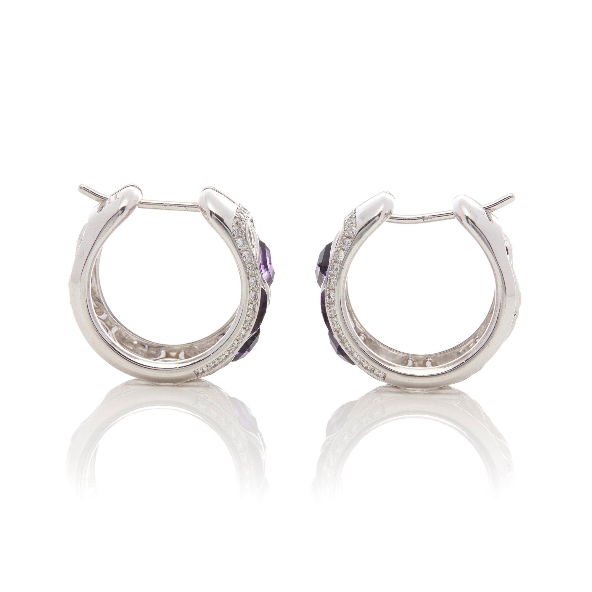 Chopard 18k White Gold Amethyst & Diamond Imperiale Earrings