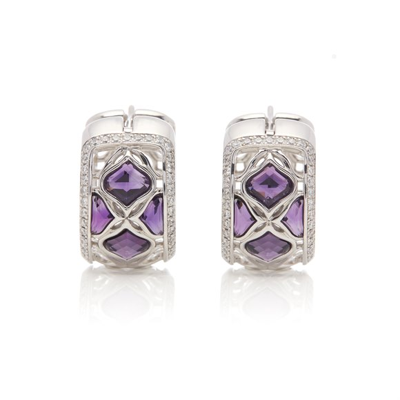 Chopard 18k White Gold Amethyst & Diamond Imperiale Earrings