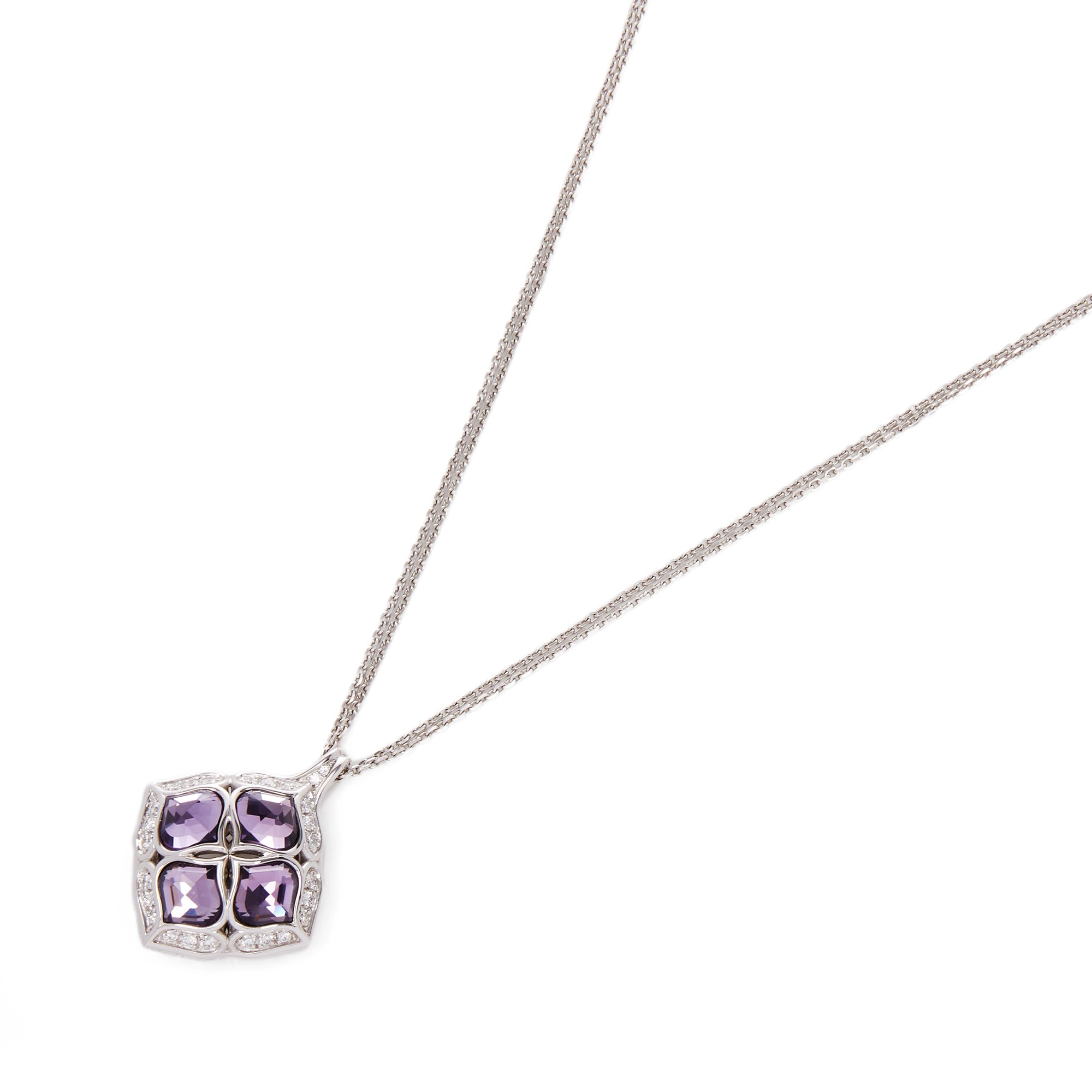 Chopard 18k White Gold Amethyst & Diamond Imperiale Pendant Necklace