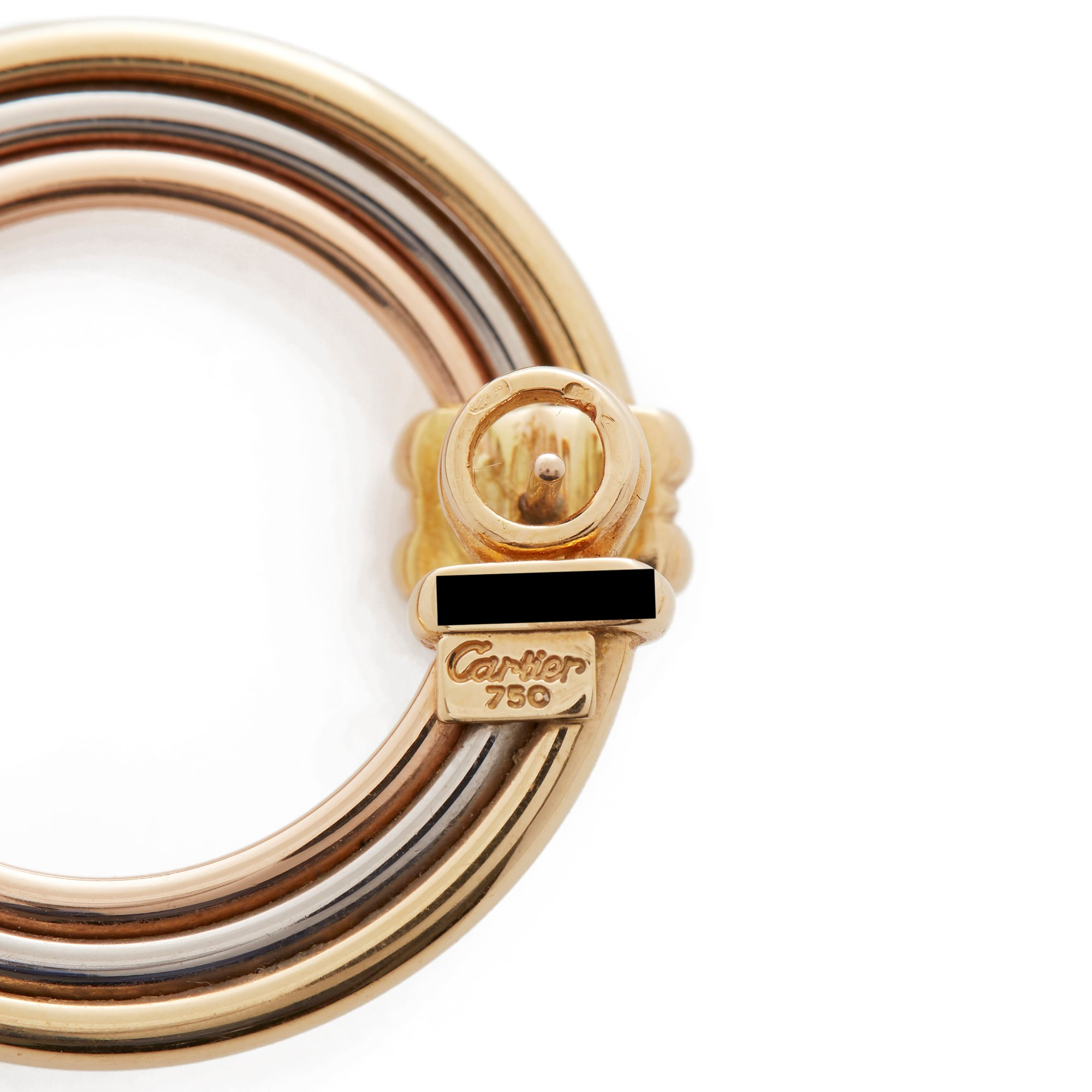 Cartier 18k Yellow, White & Rose Gold Magnolia Hoop Earrings