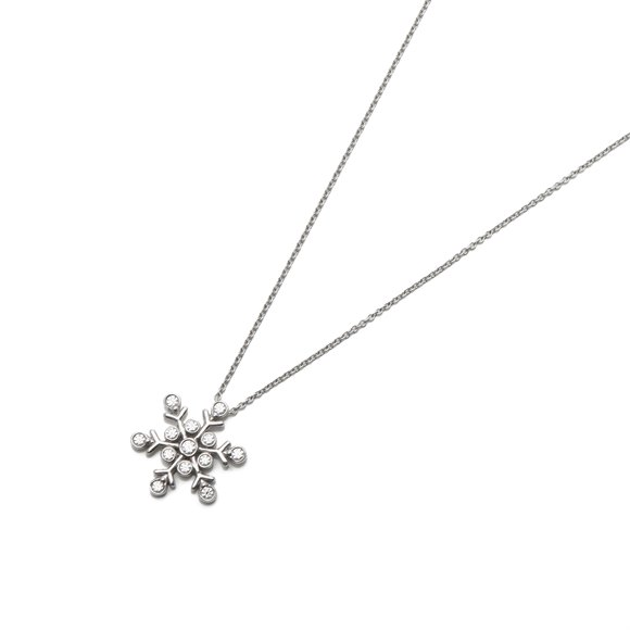 Tiffany & Co. Platinum Diamond Snowflake Pendant Necklace
