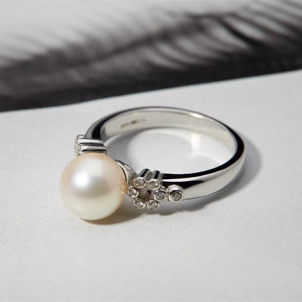 Mikimoto Lace 18k White Gold Akoya Pearl & Diamond Ring