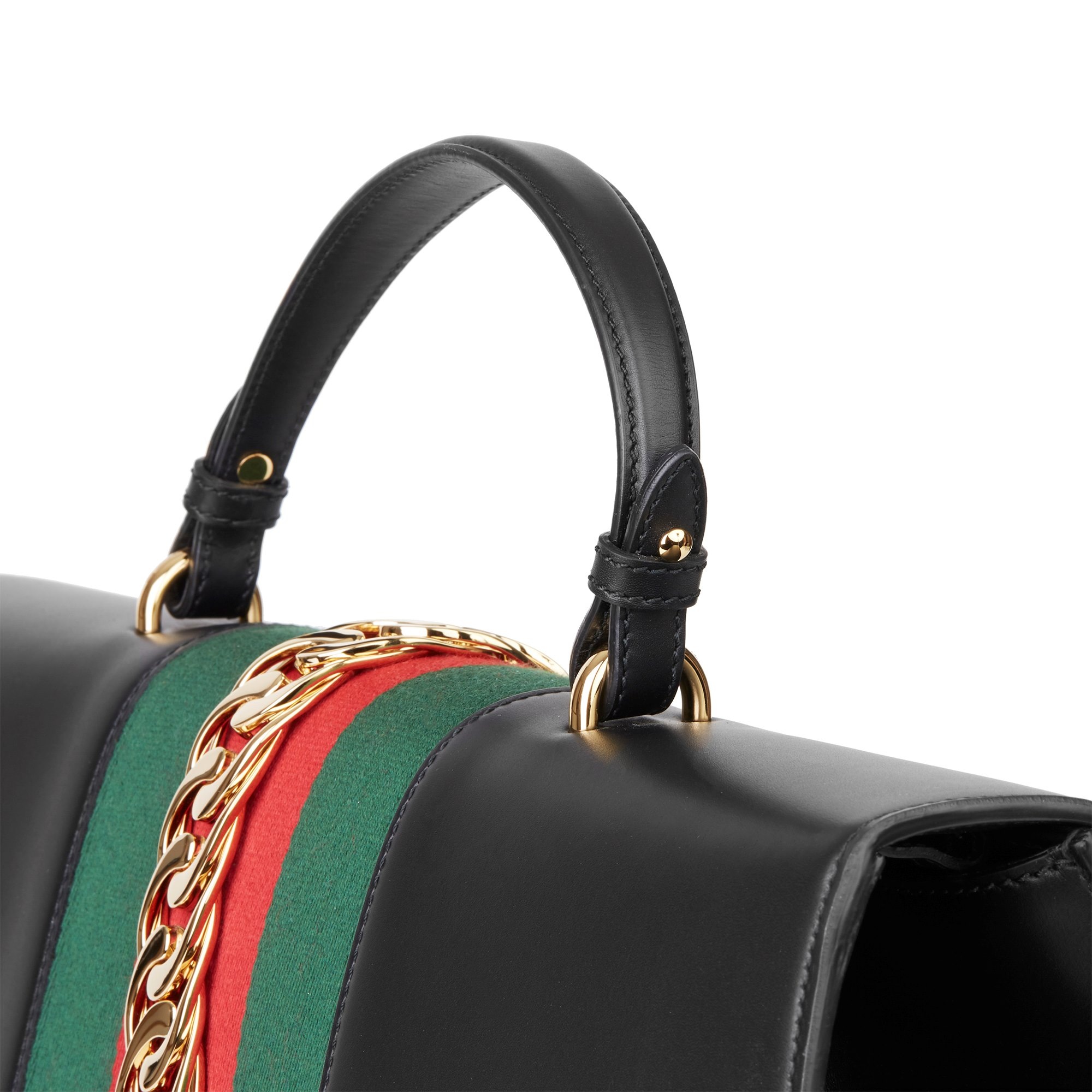 Gucci Black Smooth Calfskin Leather Sylvie Top Handle Duffle Bag