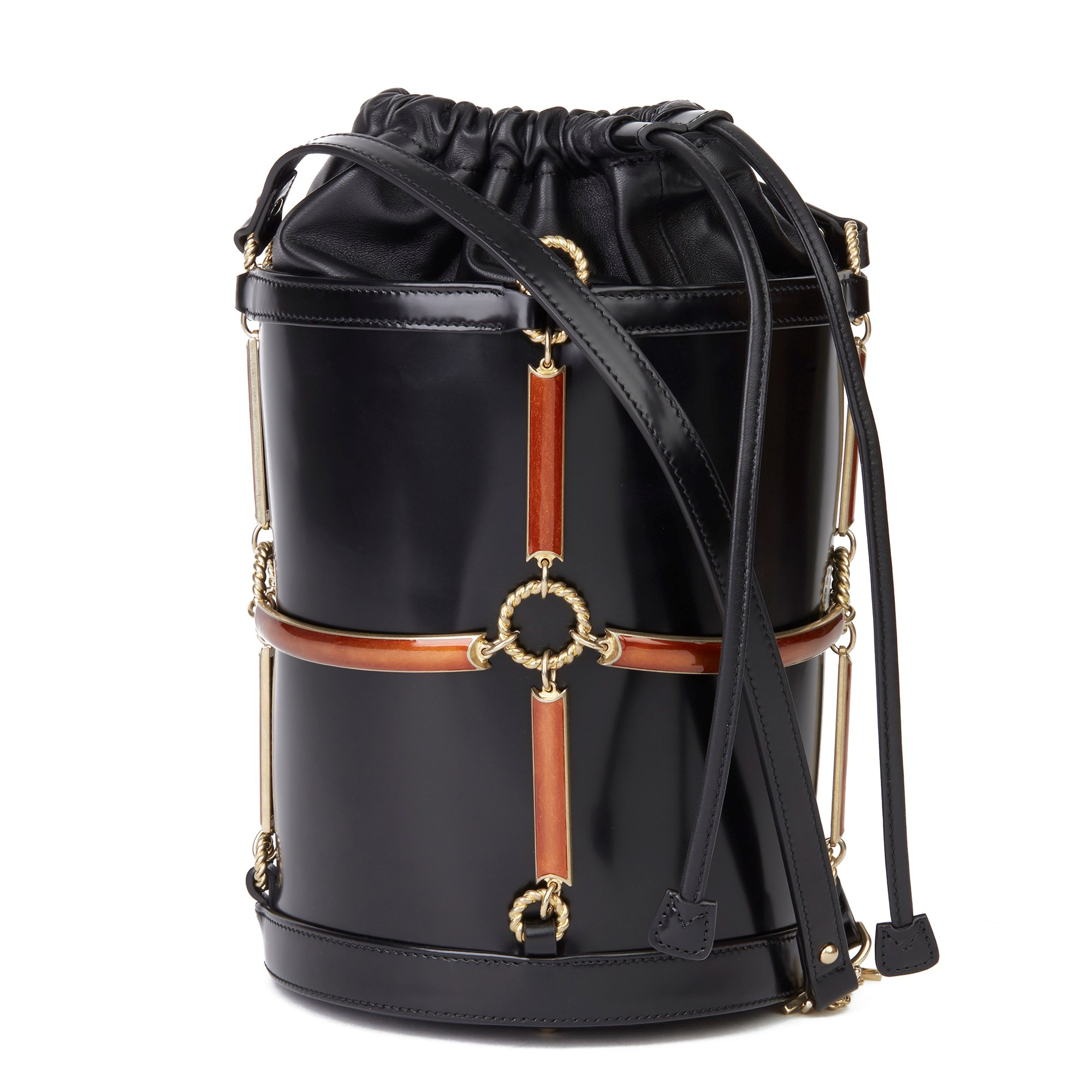 Gucci Black Vinyl, Lambskin & Rust Enamel Bucket Bag