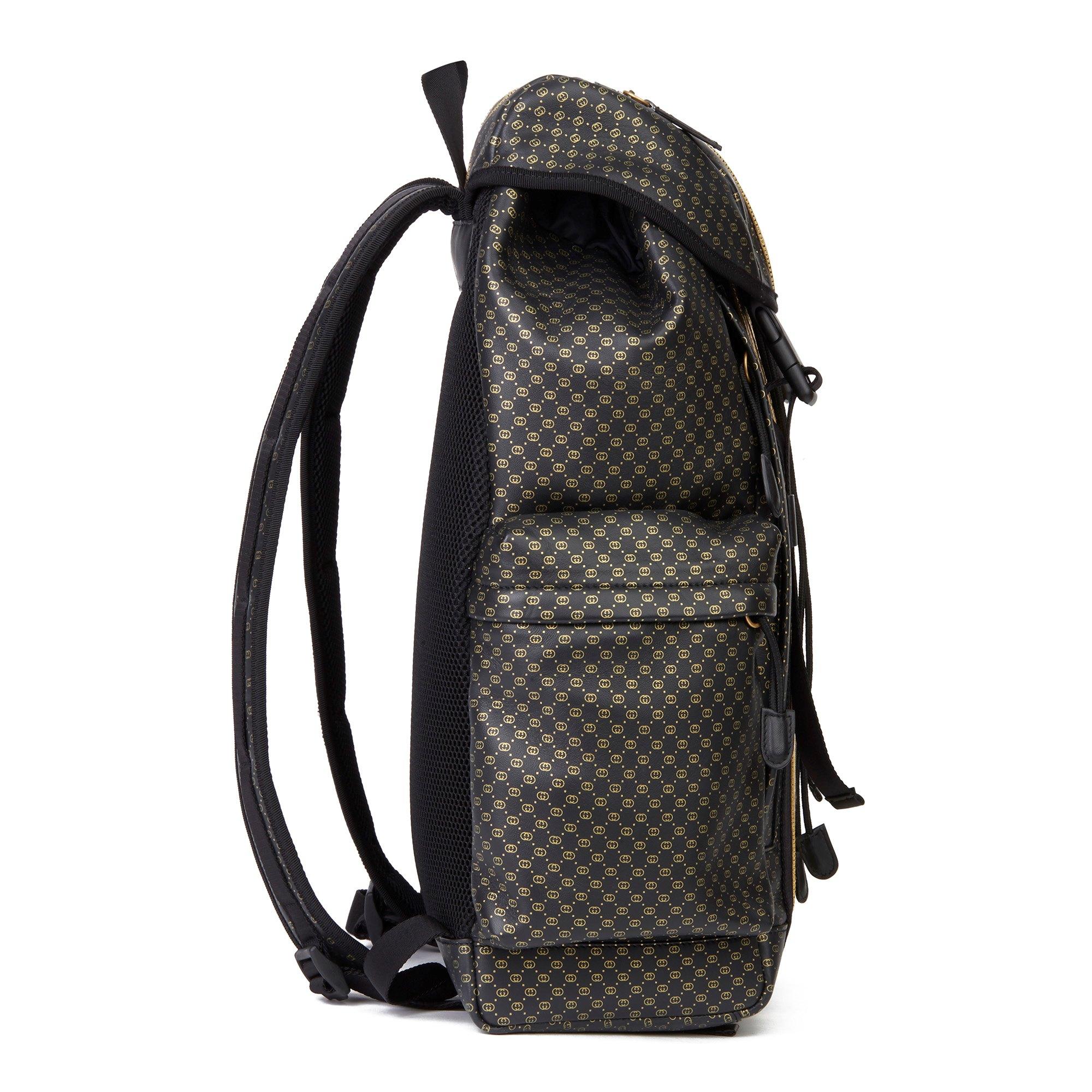 Gucci Black & Gold Monogram Calfskin Leather & Gold Python Leather Dapper Dan Backpack