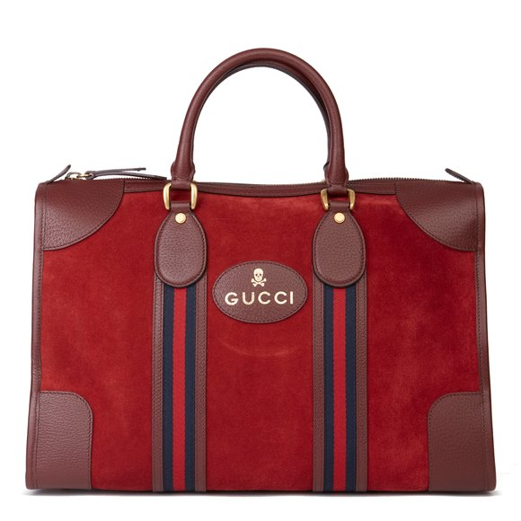 Gucci Red Suede & Burgundy Pigskin Web Medium Duffle Bag