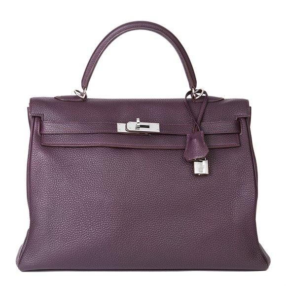 Hermès Raisin Togo Leather Kelly 35cm Retourne
