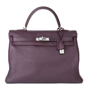 Hermès Raisin Togo Leather Kelly 35cm Retourne