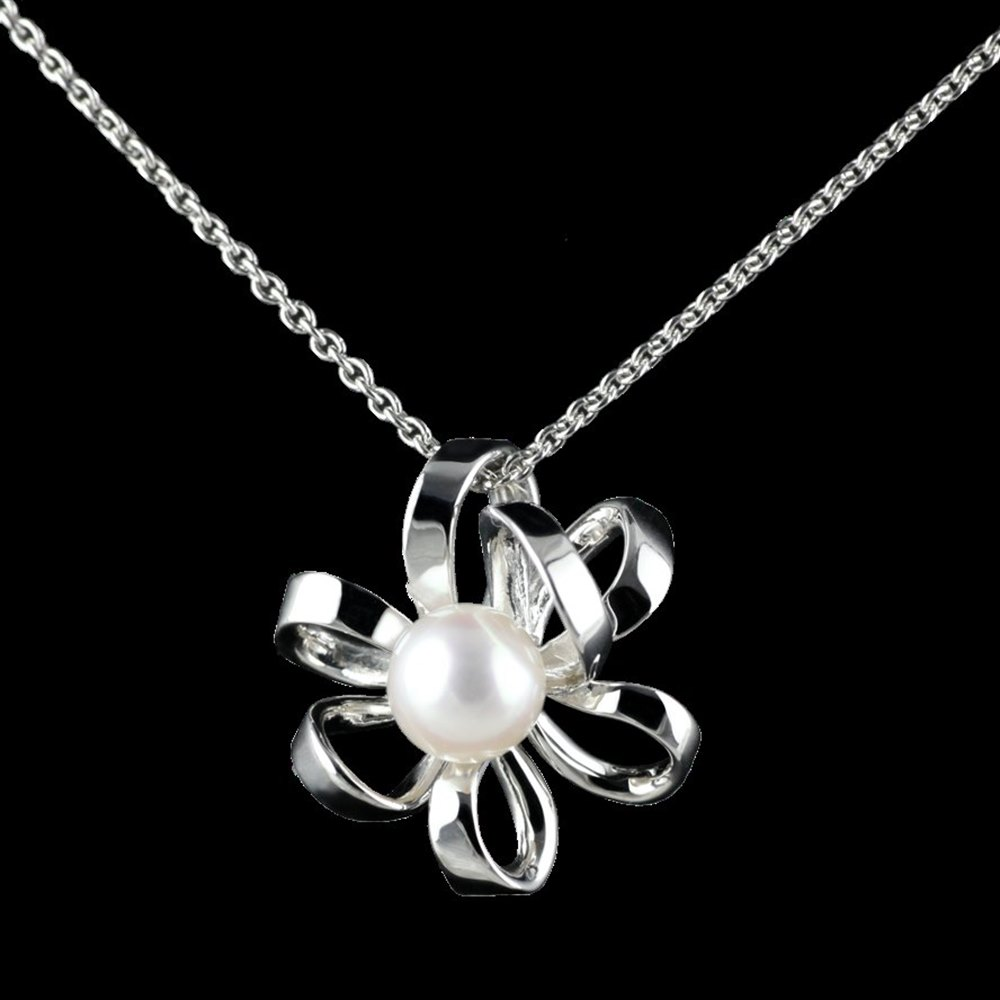 Mikimoto Blossom 18k White Gold Akoya Pearl Pendant Necklace