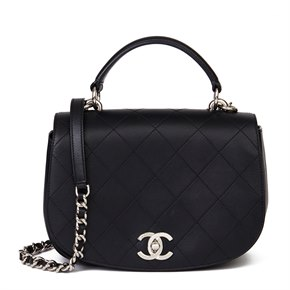 Chanel Black Quilted Calfskin Leather Ring My Bag Flap Bag