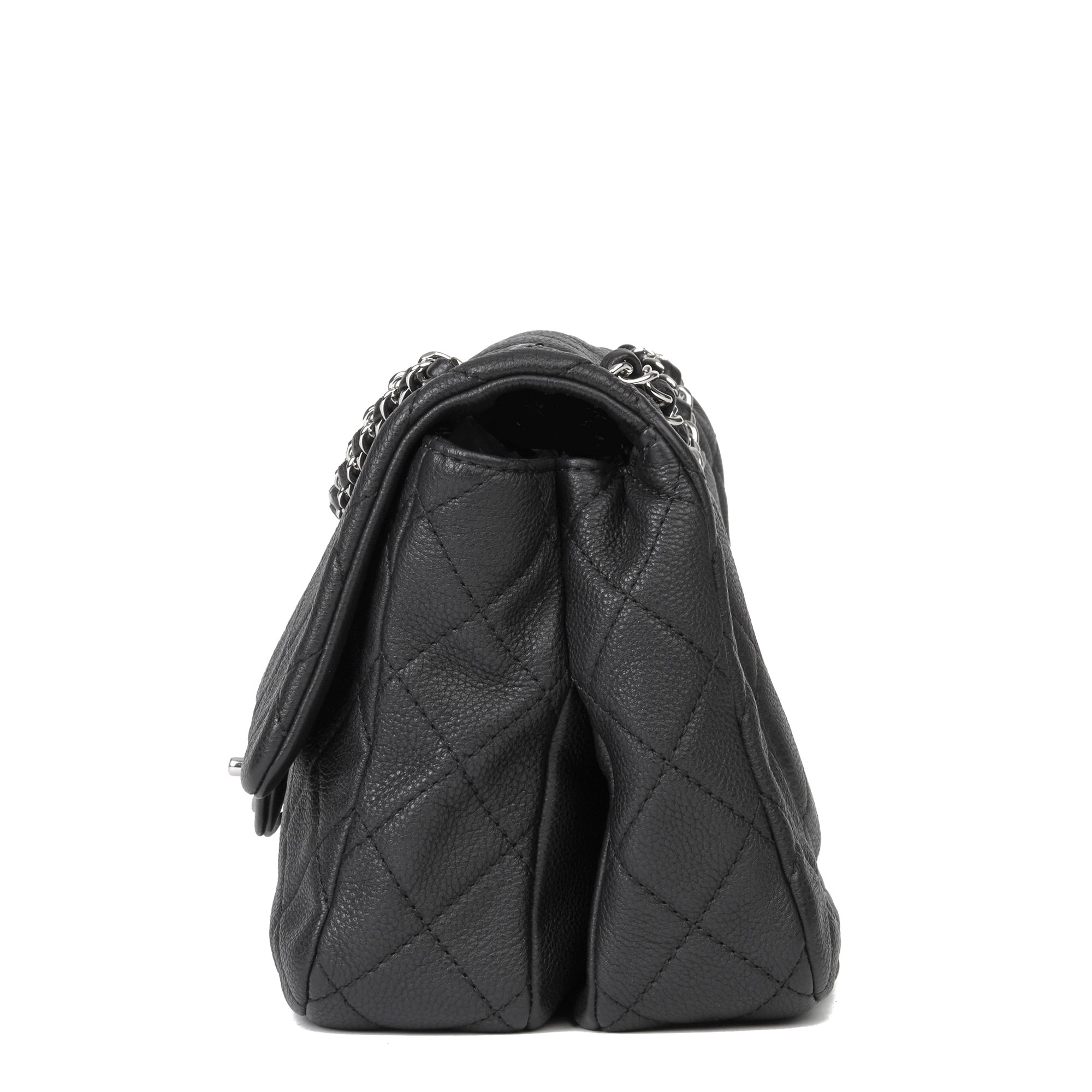 Chanel Black Quilted Washed Caviar Leather Classic Double Gusset Single Flap Bag