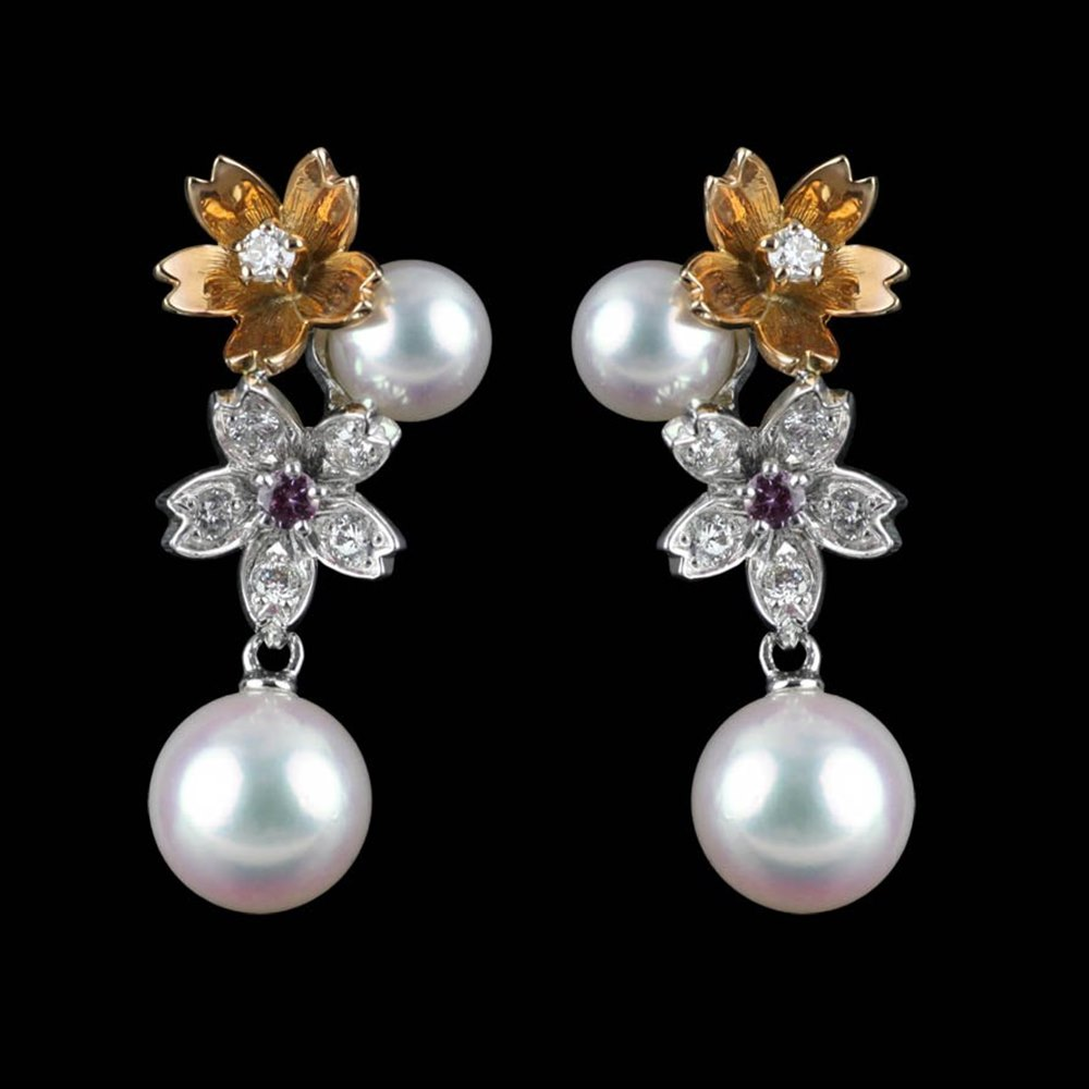 Mikimoto Blossom 18k White & Rose Gold Akoya Pearl Diamond Earrings