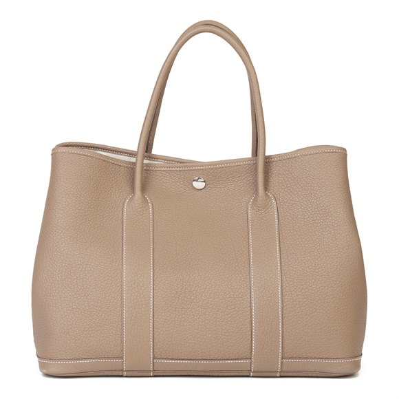 Hermès Etoupe Negonda Leather Garden Party 36cm
