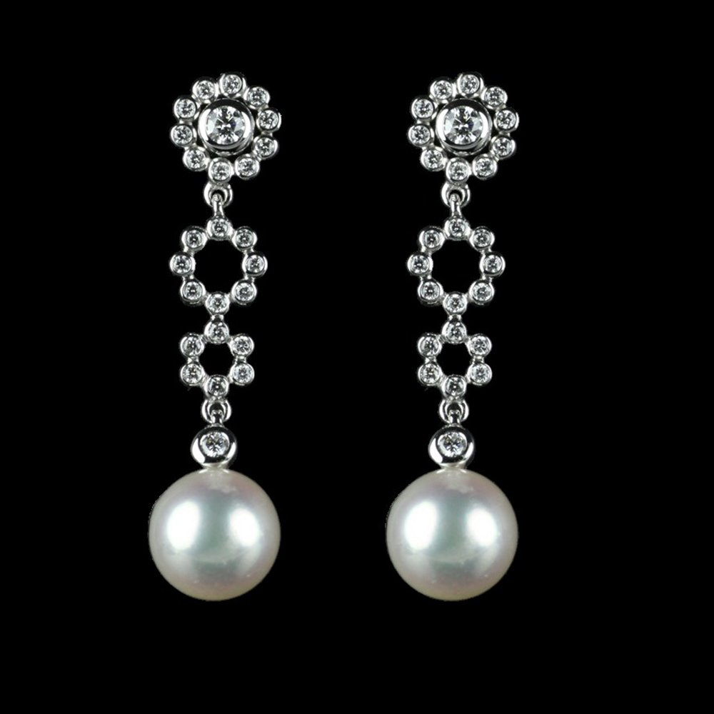 Mikimoto Lace 18k White Gold Akoya Pearl & Diamond Earrings