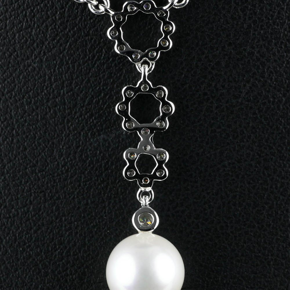 Mikimoto Lace 18k White Gold Akoya Pearl & Diamond Pendant Necklace