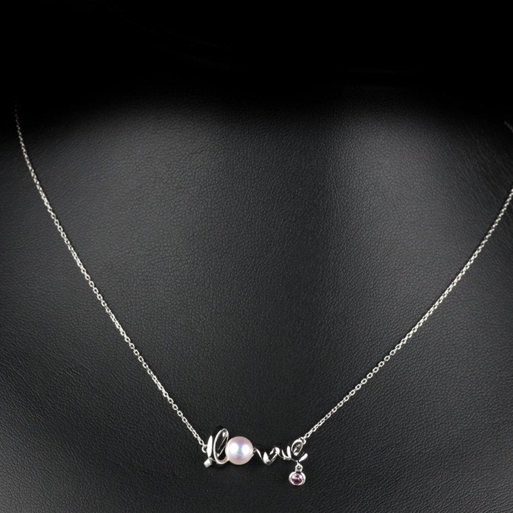 Mikimoto Love 18k White Gold Akoya Pearl & Pink Sapphire Pendant Necklace