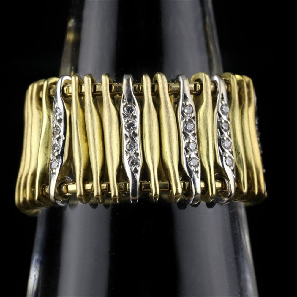 H Stern Filaments Matte 18K Yellow & White Gold Diamond Ring