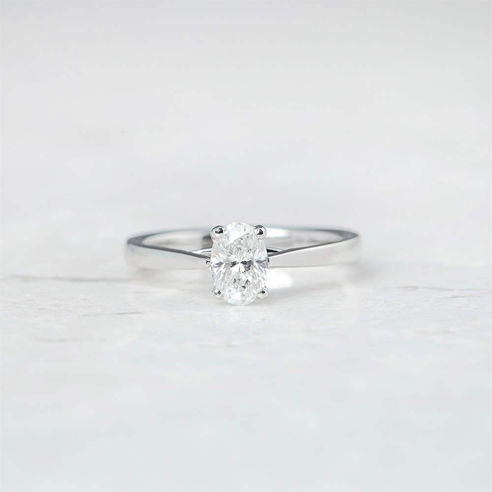 Mappin & Webb Platinum Oval Brilliant Cut 0.77ct Diamond Ring