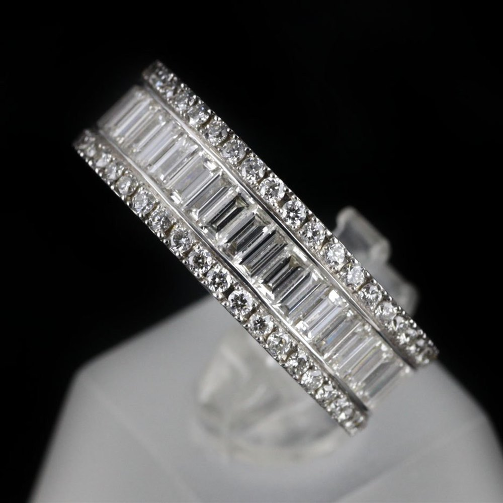 Mappin & Webb 18K White Gold 2.58 cts G VS1 Baguette & Brilliant Cut Diamond Eternity Ring Size L.5