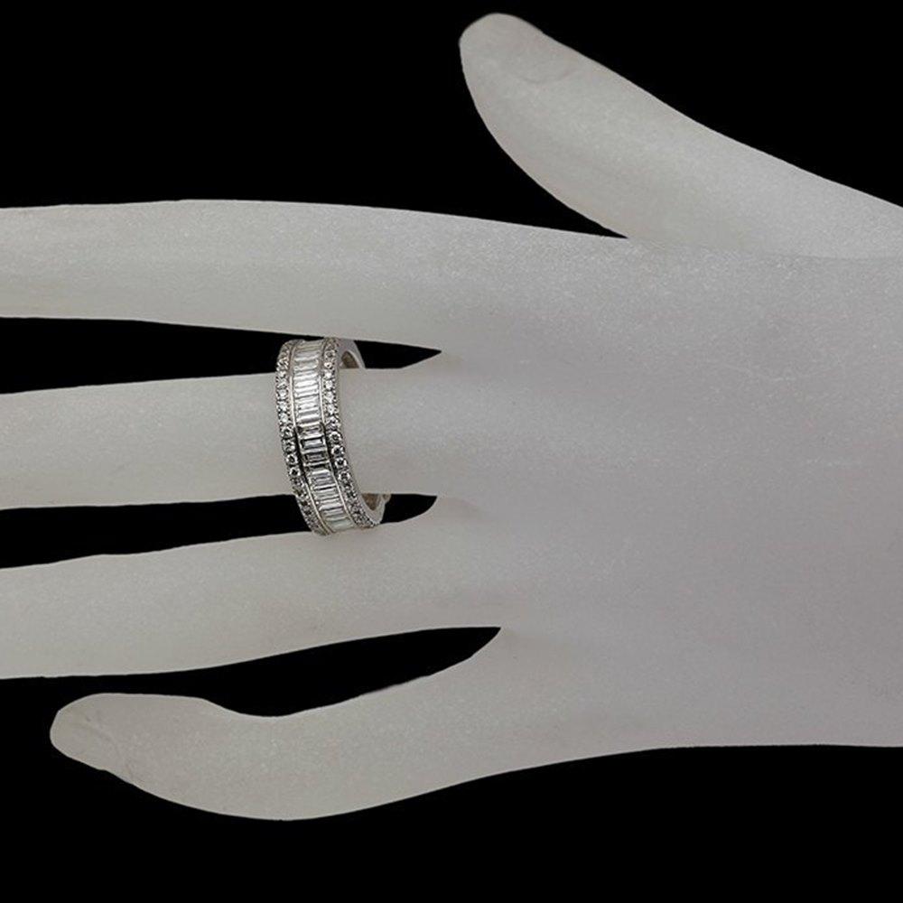Mappin & Webb 18K White Gold 2.58 cts G VS1 Baguette & Brilliant Cut Diamond Eternity Ring Size M.5