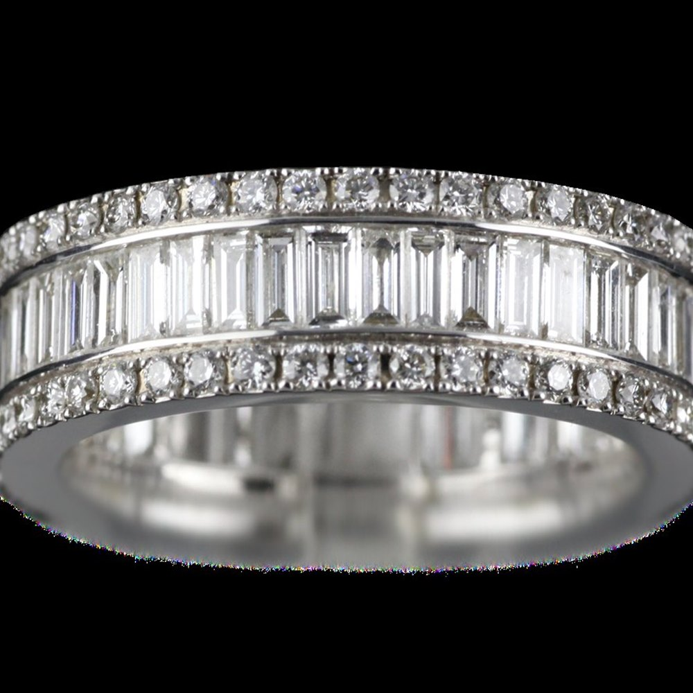 Mappin & Webb 18K White Gold 2.58 cts G VS1 Baguette & Brilliant Cut Diamond Eternity Ring Size M.5