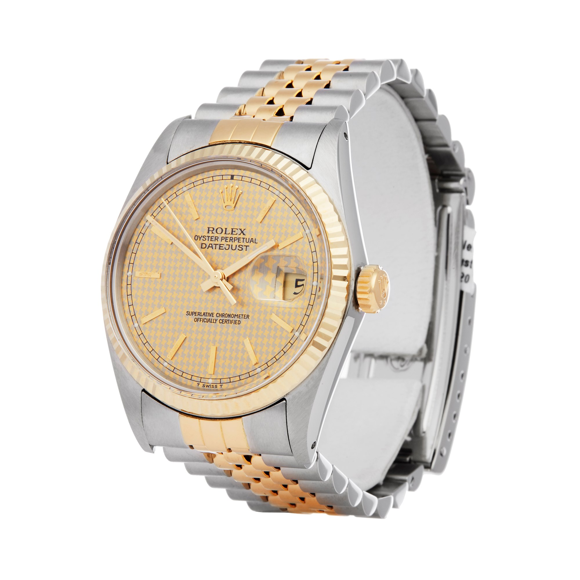 Rolex Datejust 36 Houndstooth Stainless Steel & Yellow Gold 16013