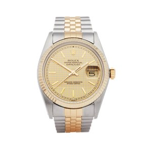 Rolex Datejust 36 Houndstooth Stainless Steel & Yellow Gold - 16013